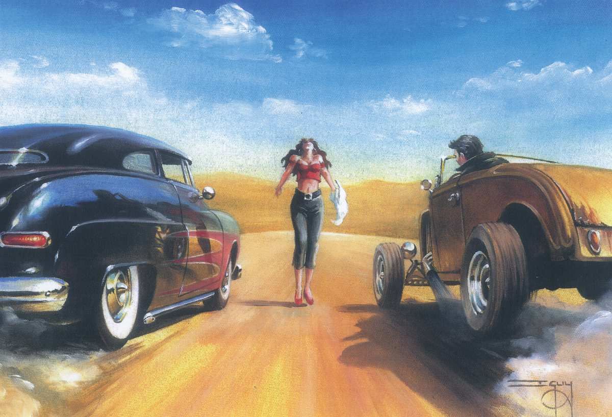 Hot Rod Race Start – Ian Guy - Motoring Artist