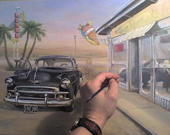 Ice-cream-Shop-and-Chevy-painting