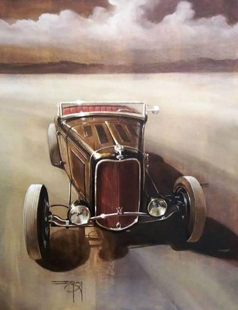 Solitude-Hot-Rod-roadster-painting-Ian-Guy